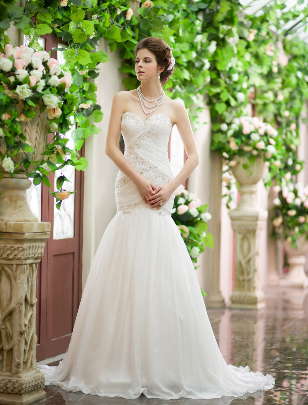 Ivory Sweetheart Lace-up Ruched Chiffon Bridal Mermaid Wedding Dress Milanoo