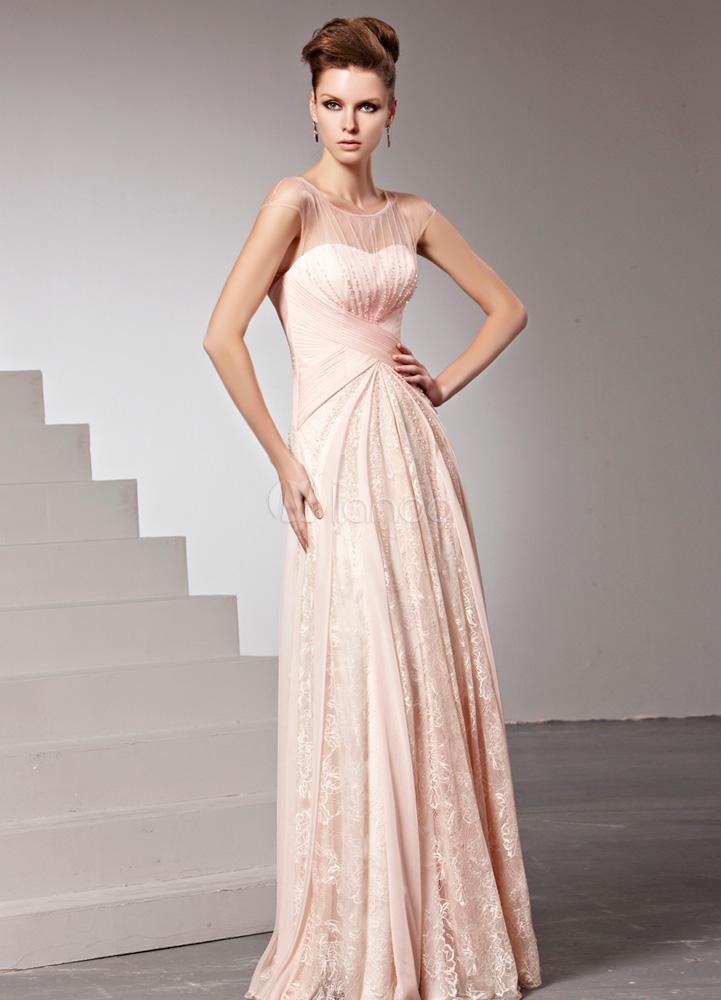 Trägerloses Abendkleid mit Spitze und Perlen-Applikation