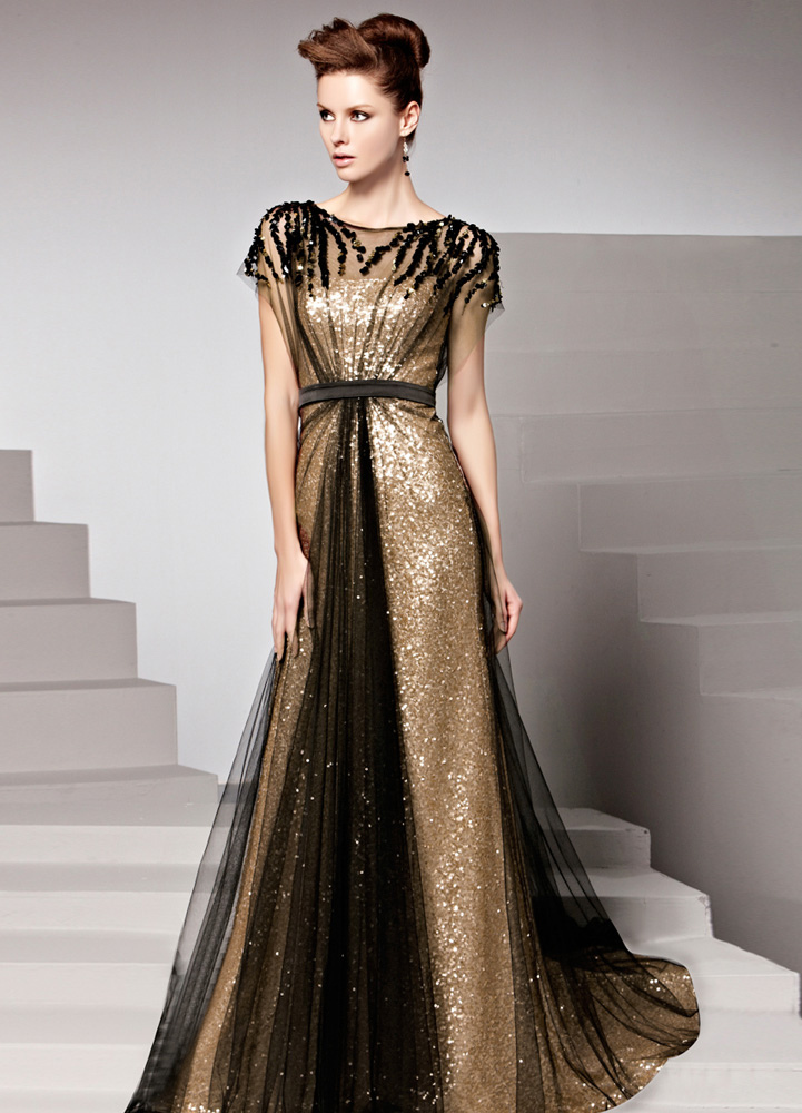 Gold Sequin Jewel Neck Short Sleeves Sheath Matte Satin Womens Evening Dress Wedding Guest Dress
