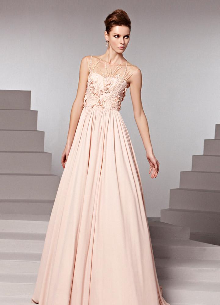 wholesale dealer 2c581 12f9f Abito da sera elegante lussuoso con perline drappeggiato in chiffon rosa  con collo rotondo a terra