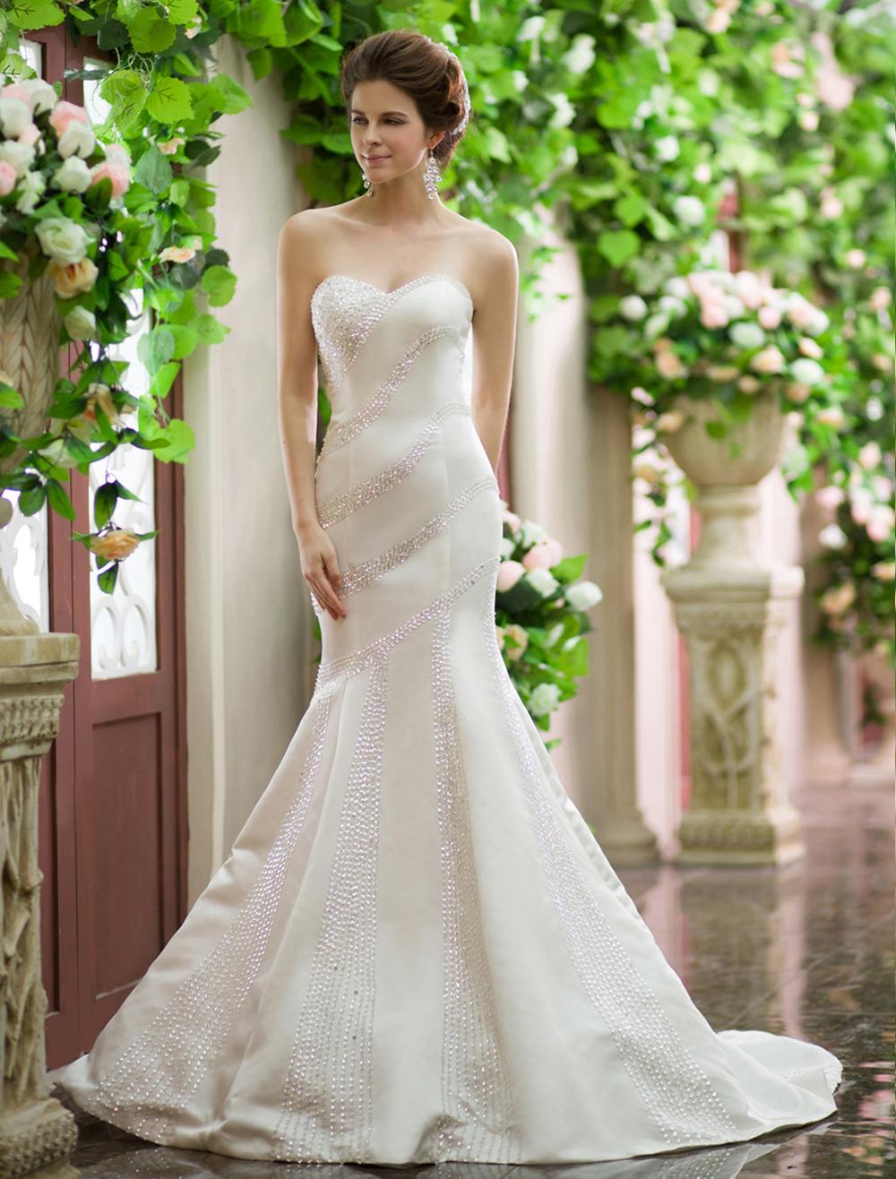 Ivory Mermaid Sweetheart Zipper Beading Sweep Bridal Wedding Gown Milanoo