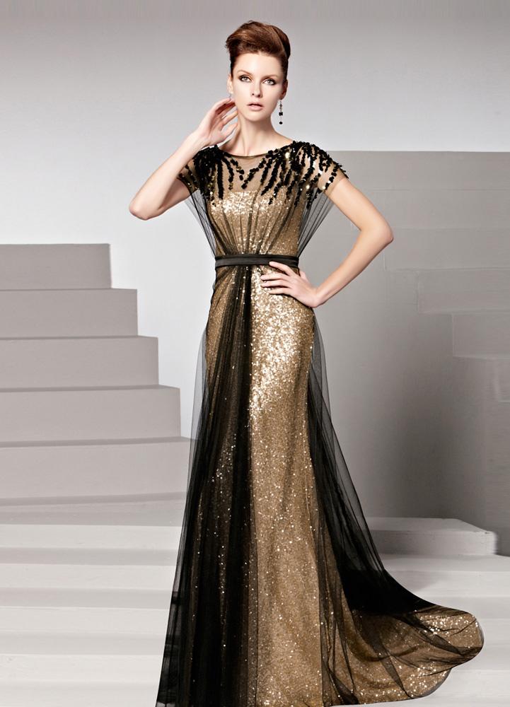 Vestidos elegantes de noche largos color oro