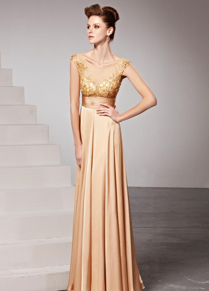 d0df8ee89 ... Vestido de noche de chifón dorado sin mangas con escote redondo -No. ...