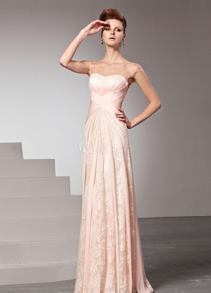 fcb74aab0c1 Nude Evening Dress Illusion Beaded Prom Dress Satin Jewel Neck Short Sleeves  Floor Length Sheath Party ...
