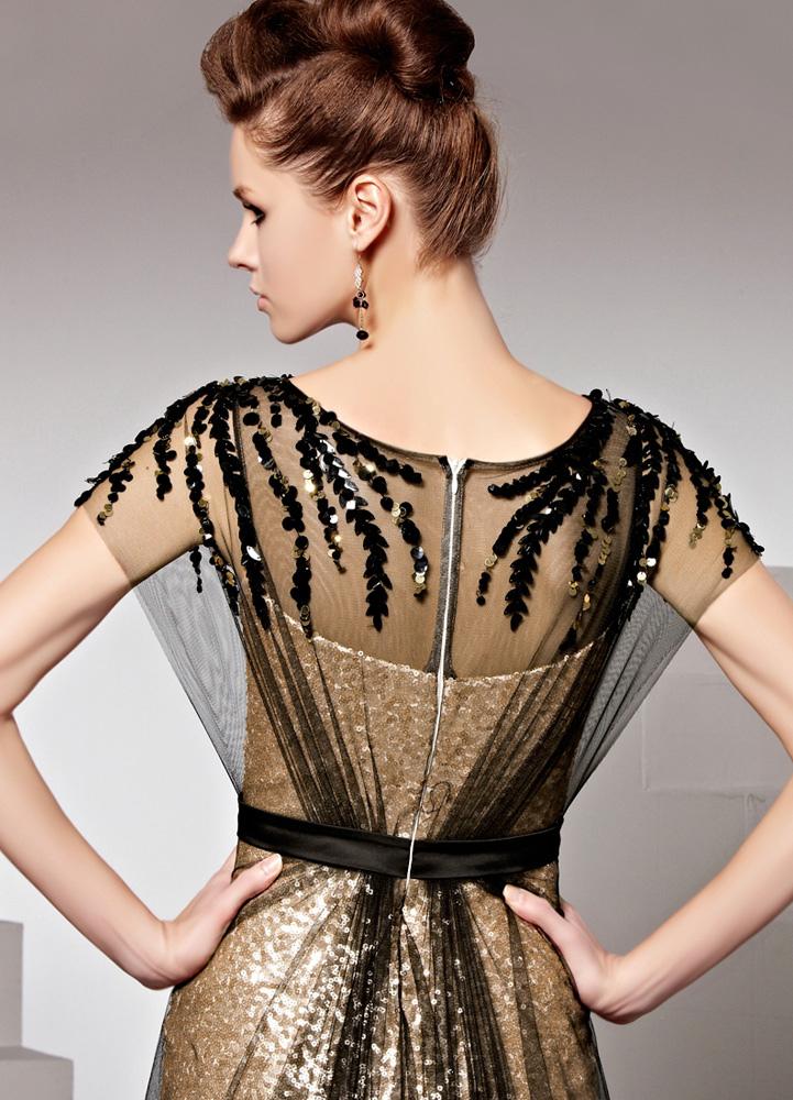 e6c96d6a28a3 ... Oro zecchino gioiello collo maniche guaina opaca raso sera abito  femminile -No.10