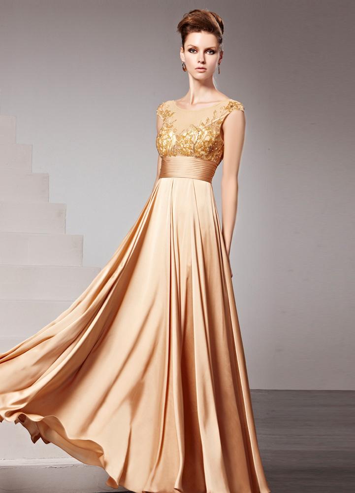 Vestidos de noche en dorados