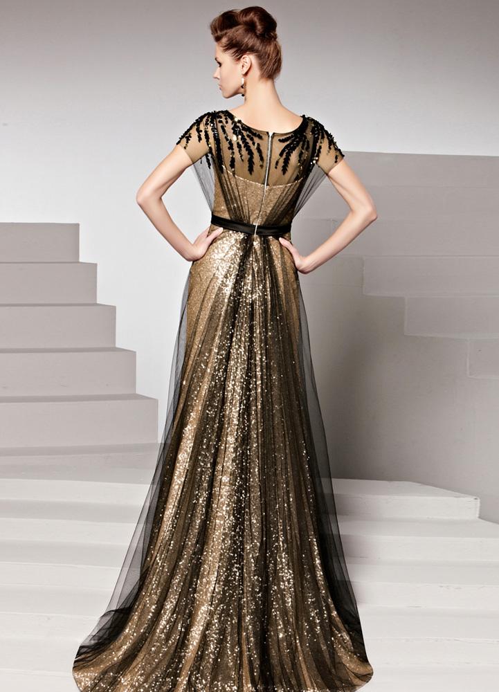 bb5beeceb89d ... Oro zecchino gioiello collo maniche guaina opaca raso sera abito  femminile -No.6 ...