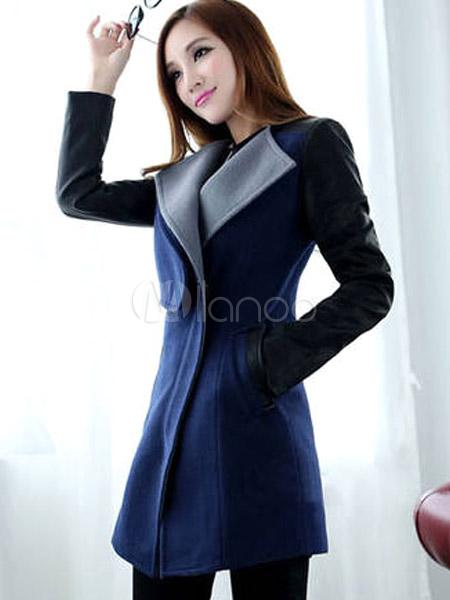 Cappotto moderno elegante in lana mista di PU - Milanoo.com db69427cdea