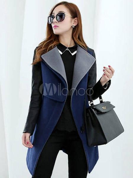 Abbigliamento Donna · Particolari · Cappotto moderno elegante in lana mista  di PU -No.1 ... 0ed83e29888