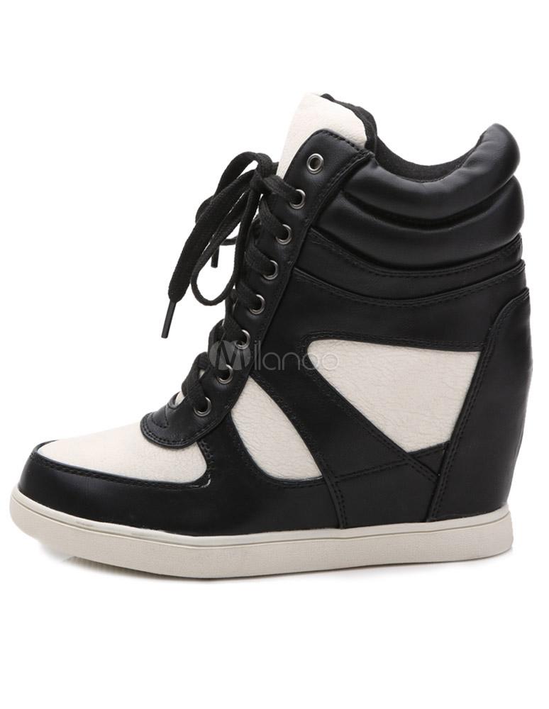 cheap for discount 7ce51 e30c3 Damen Sneaker mit Keilabsatz in Weiß und Schwarz