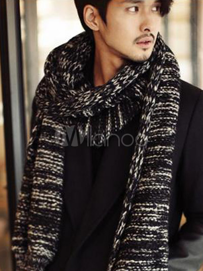 Stricken Sie Baumwolle Mode Schal für Männer - Milanoo.com