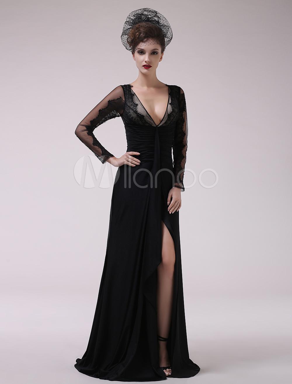 Black Pleated V-Neck Sheath Chiffon Beautiful Evening Dress For Women  Milanoo