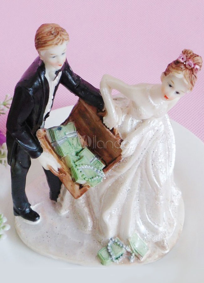 Buy Funny Resin Vegas Classic Couple Wedding Cake Toppers for $5.39 in Milanoo store