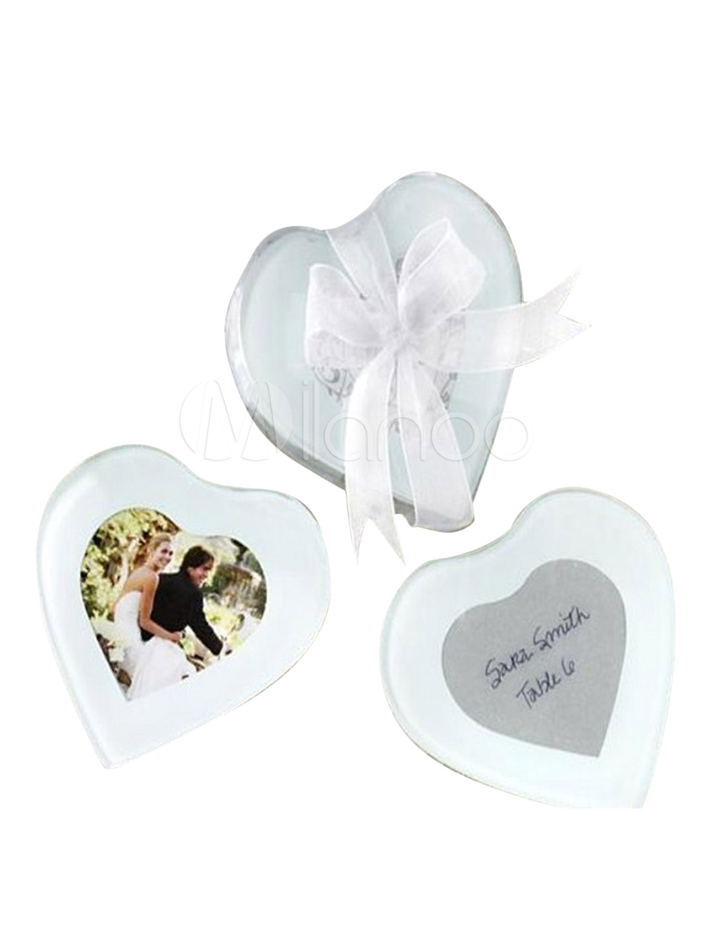 2-Piece Heart Shaped Glass Coaster Favors for Wedding