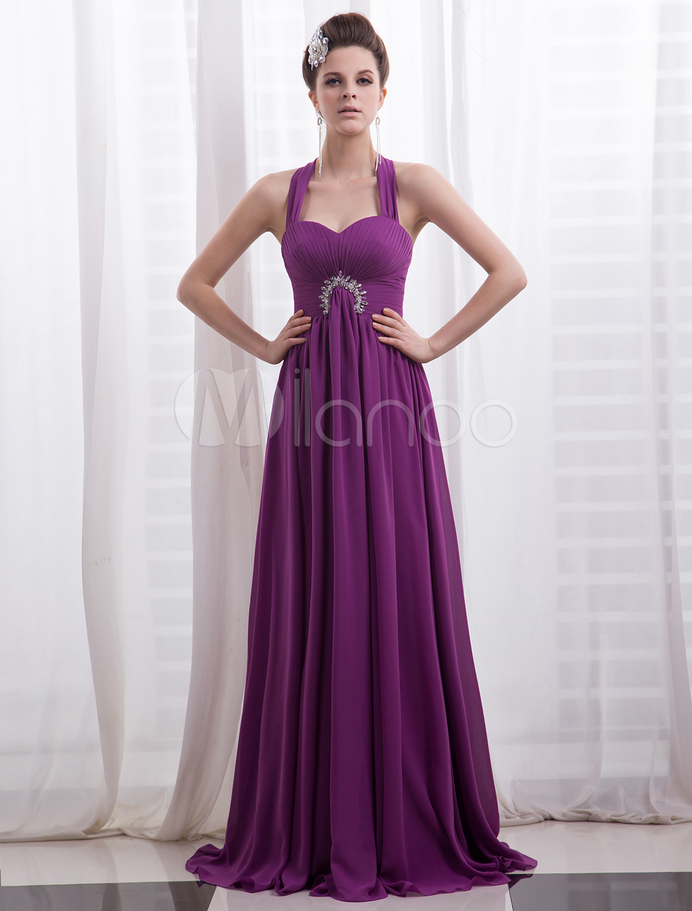Chiffon Evening Dress Magenta Rhinestone Beaded Prom Dress  Halter A Line Floor Length Party Dress Milanoo