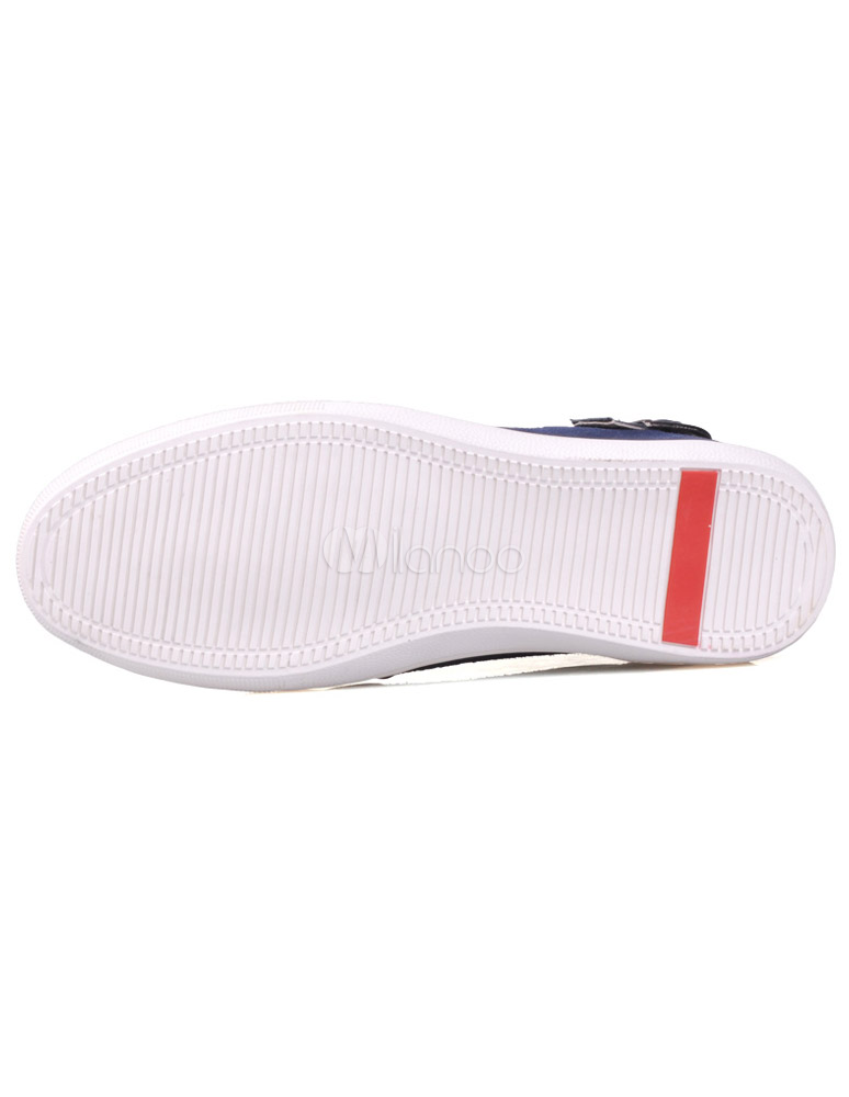 Único azul redondo Toe hebilla de tiras de cuero elevador zapatos de hombre Y7SSh