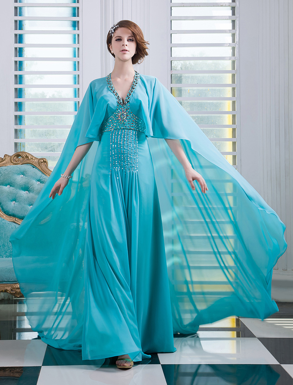 Chiffon Evening Dress Turquoise Beaded Prom Dress V Neck Sleeveless A Line Floor Length Party Dress With Watteau Train  Milanoo