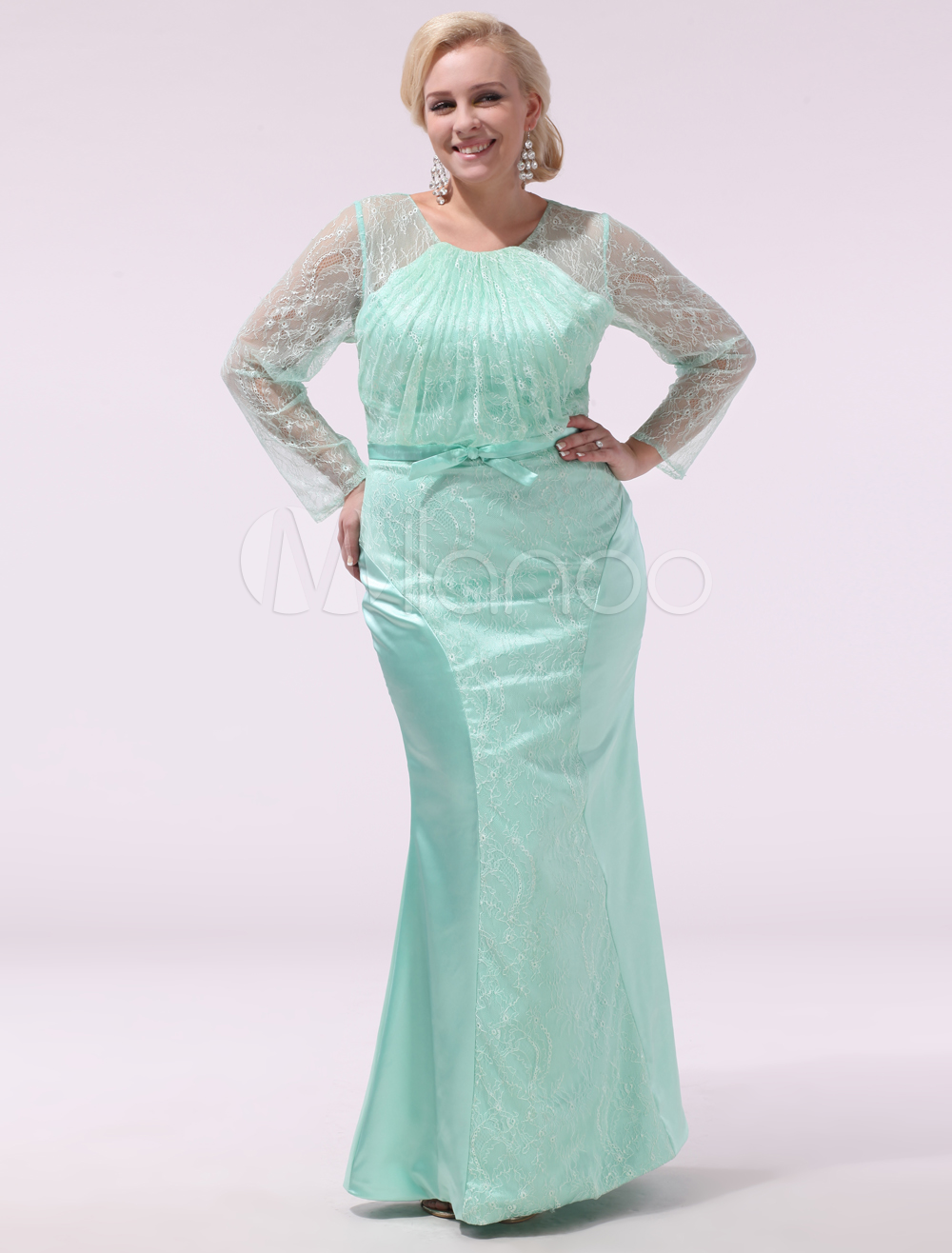 Plus Size Prom Dresses Mint Green Lace Long Sleeve Mermaid Bow Sash Floor  Length Evening Dress Milanoo
