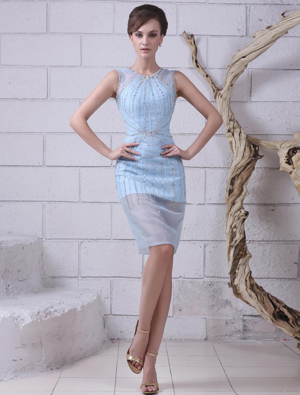 Buy Light Sky Blue Sheath Beading Jewel Neck Organza Cocktail Dress Wedding Guest Dress Milanoo for $153.30 in Milanoo store