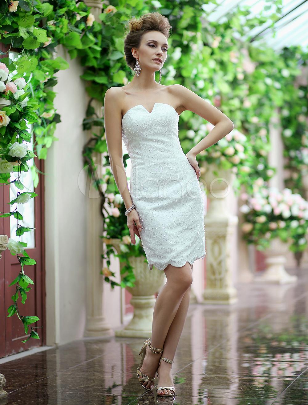 Ivory Sheath V-Neck Beading Tulle Knee-Length Wedding Reception Dress Milanoo