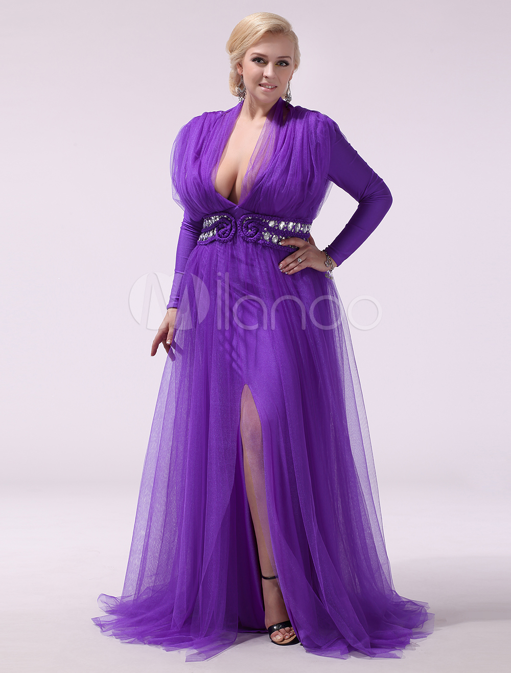 Vestido de noche de tul de violeta oscura con manga larga Milanoo ...