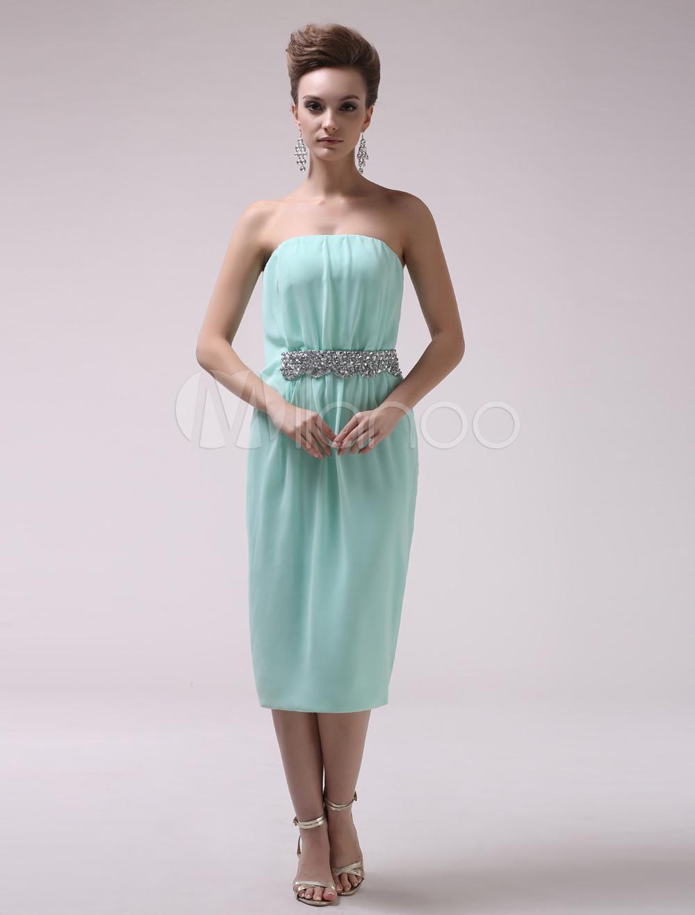 55574059dca Mint Green Sheath Beading Strapless Chiffon Modern Cocktail Dress Milanoo -  Milanoo.com