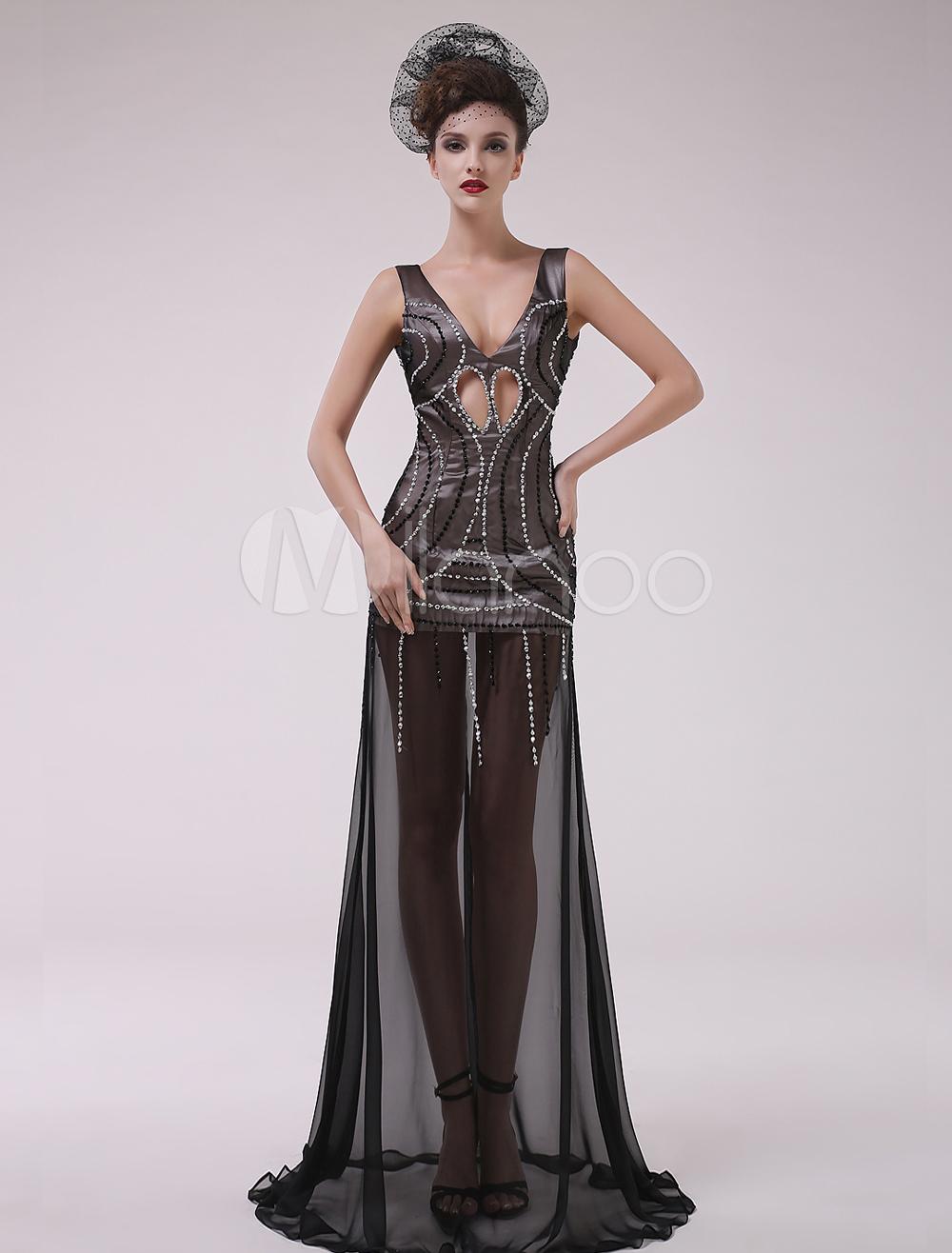 Buy Black Beading V-Neck A-line Chiffon Charming Evening Dress Milanoo for $141.29 in Milanoo store