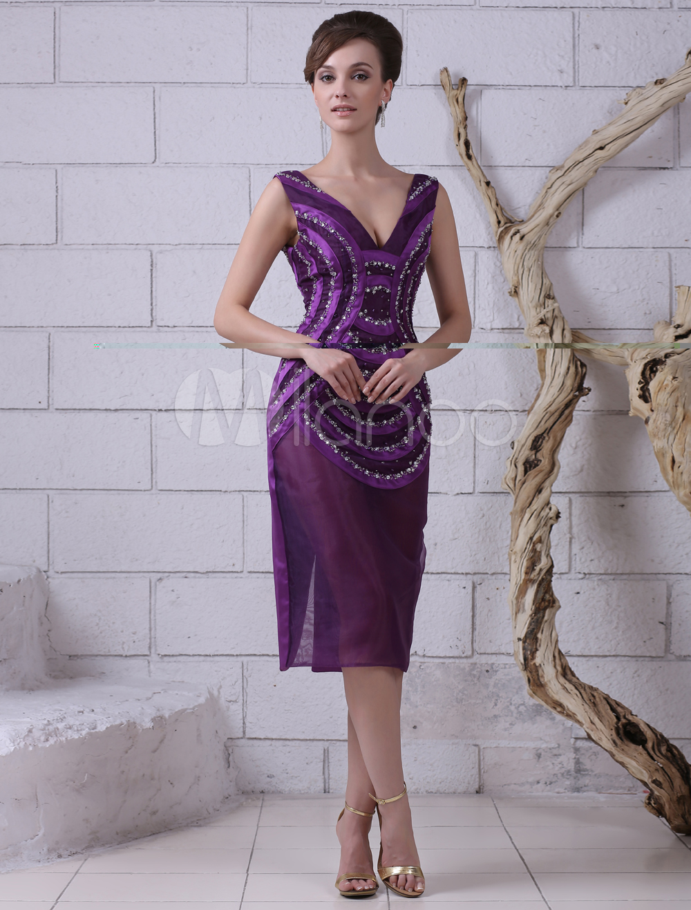 Buy Lavender Cocktail Dress Organza Beading Prom Dress V Neck Sleeveless Sheath Short Party Dress Wedding Guest Dress Milanoo for $136.79 in Milanoo store