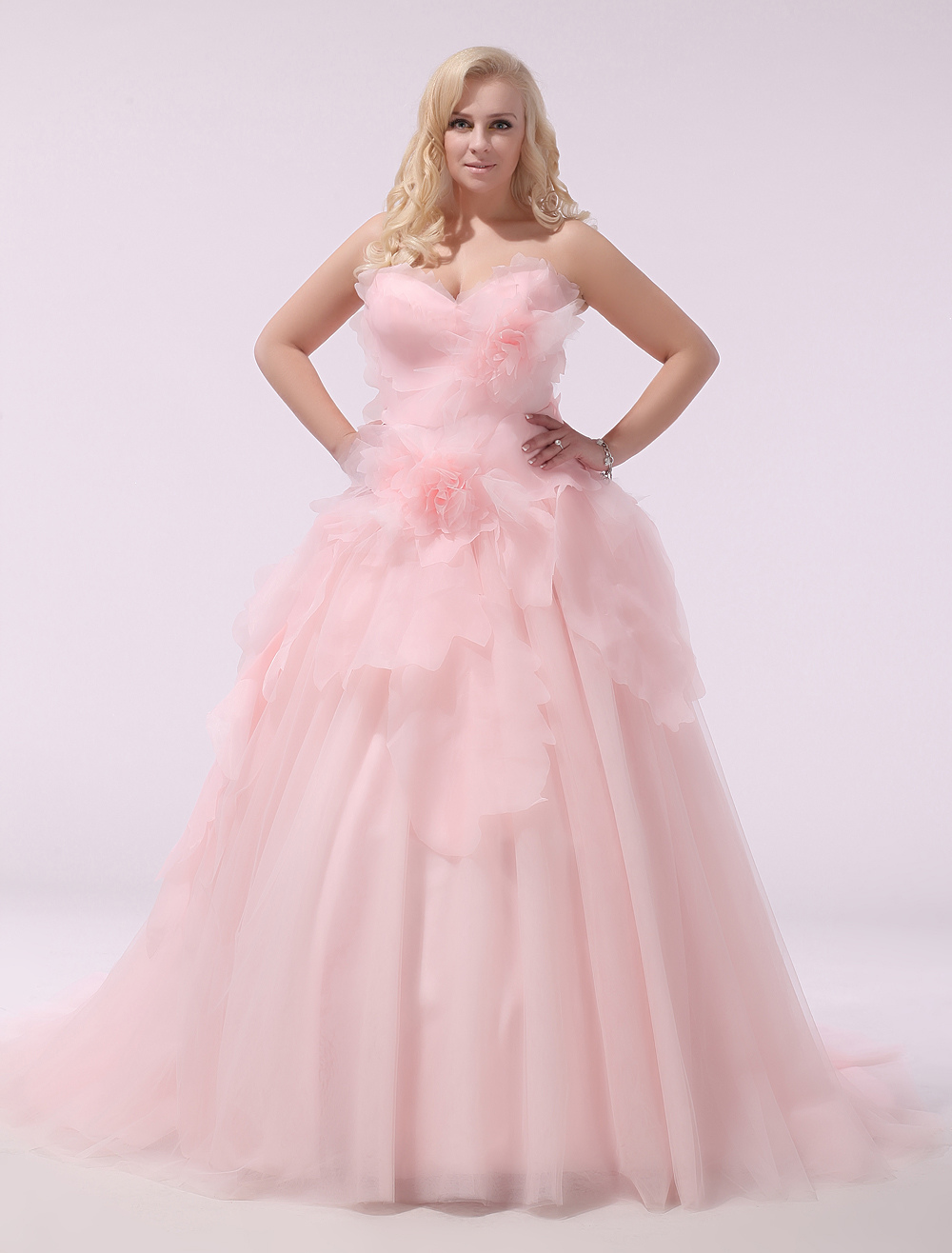 plus size wedding dress pink organza bridal gown sweetheart strapless a line 3d flowers court. Black Bedroom Furniture Sets. Home Design Ideas