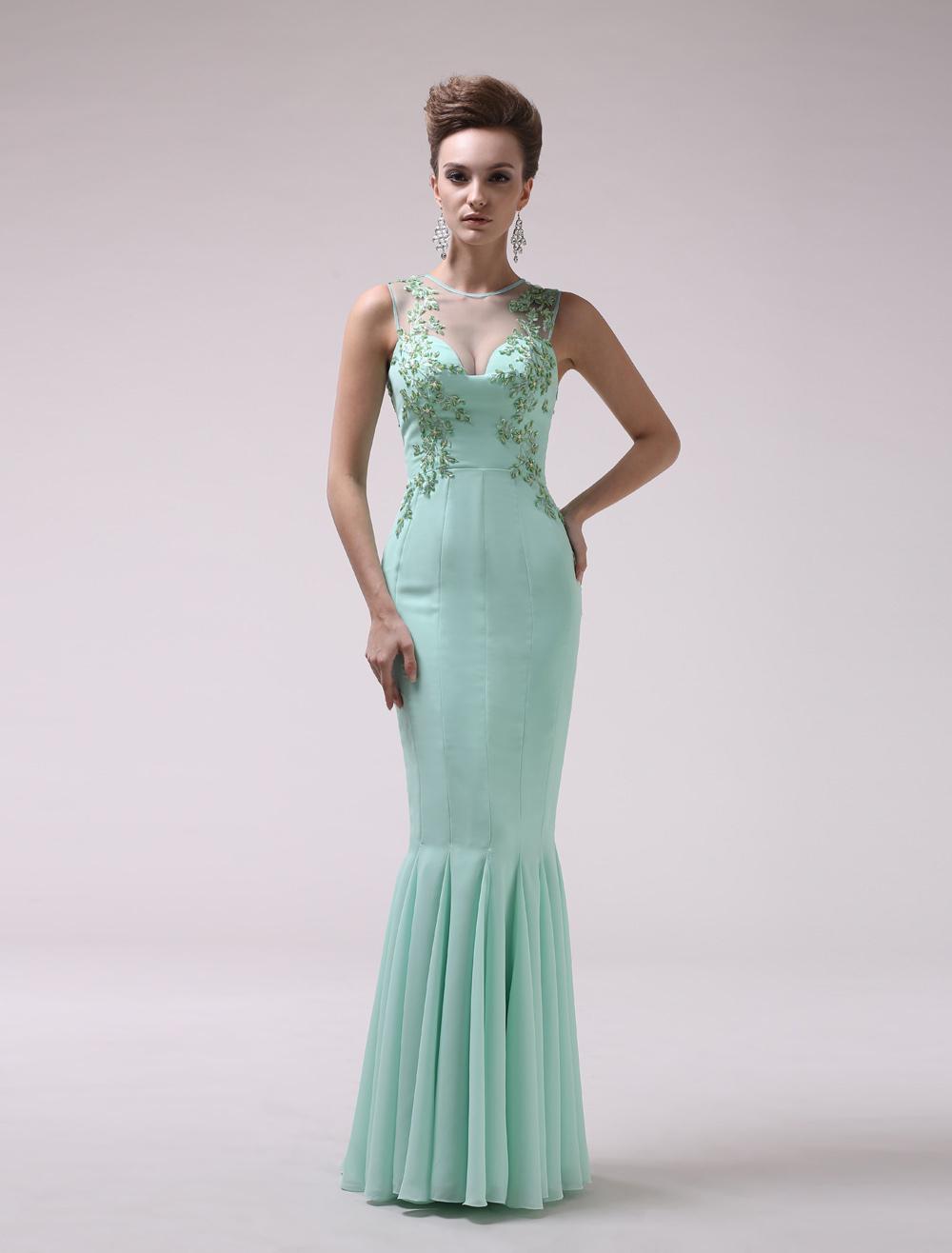 Mint Green Jewel Neck Beading Mermaid Chiffon Women's Evening Dress  Milanoo