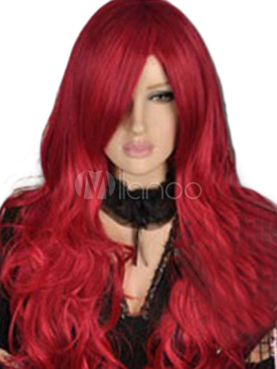 Red Full-Volume Curls Synthetic Cosplay Long Carnival wig For Woman Cheap clothes, free shipping worldwide