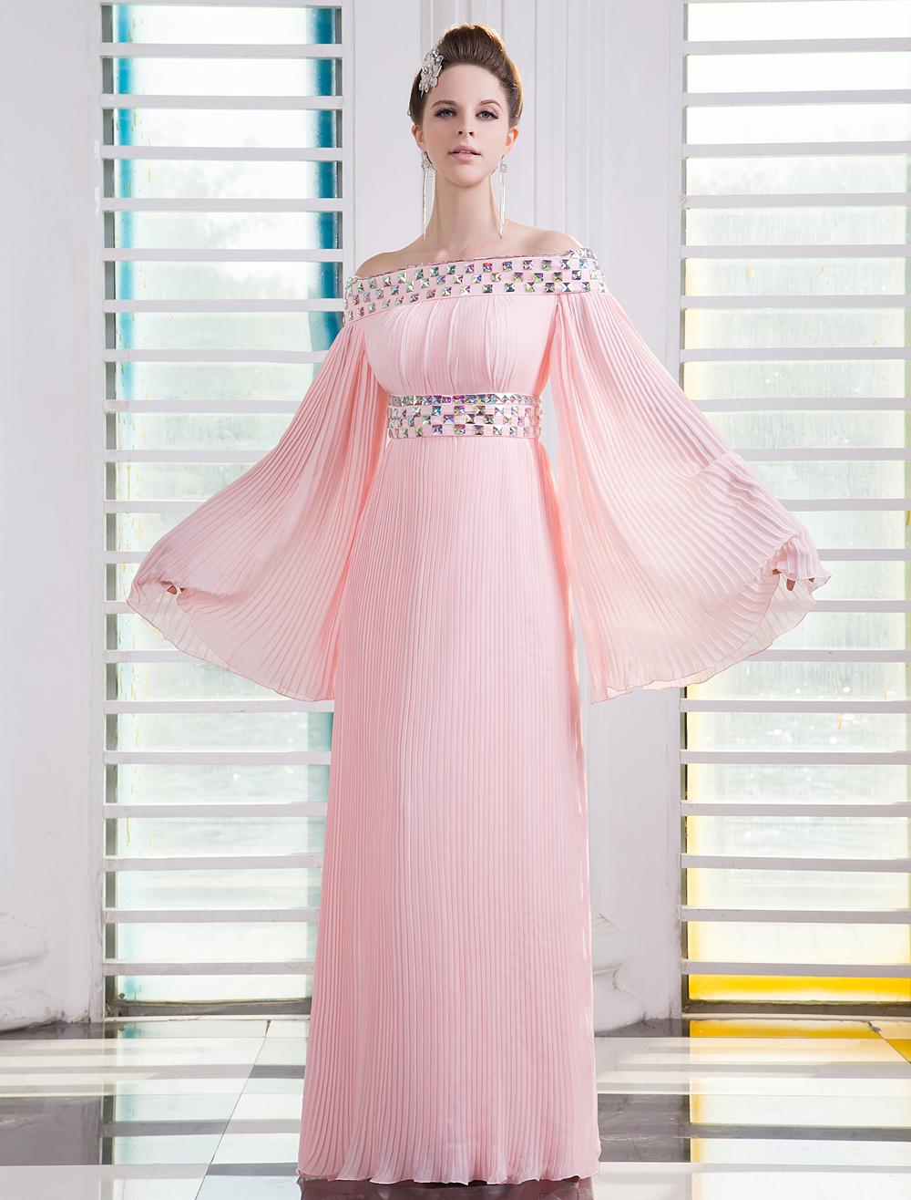 Pink Bateau Neck Long Sleeves Rhinestone A-line Chiffon Prom Dress Milanoo