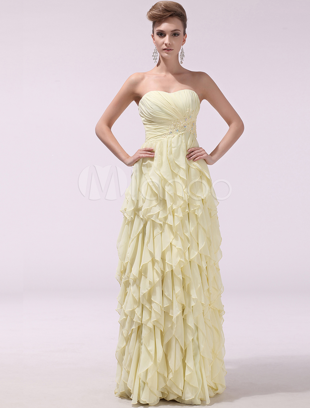 Buy Daffodil Strapless Cascading Ruffle A-line Chiffon Evening Dress Milanoo for $149.39 in Milanoo store