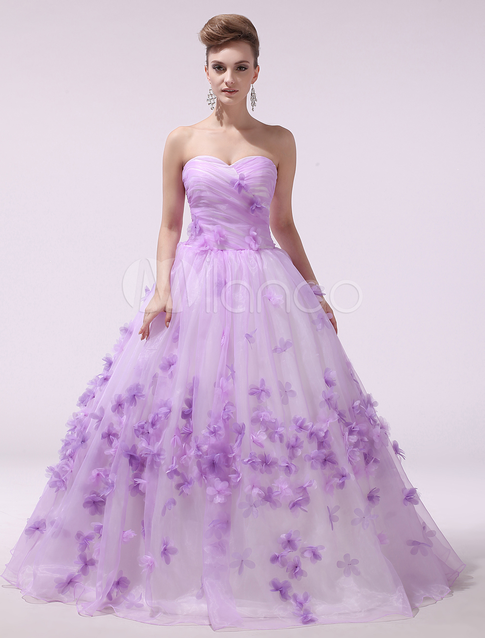 Lilac Wedding Dress 3D Flower Bridal Gown Organza Strapless Sweetheart Lace Up Ruched  Bridal Dress  Milanoo