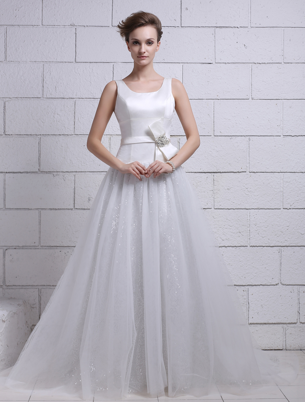 Ivory A-line Scoop Neck Zipper Rhinestone Sweep Bridal Wedding Gown  Milanoo