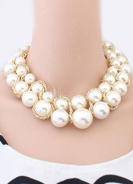 94abdbe93a21 Encantador collar de abalorios moda imitación de la perla - Milanoo.com
