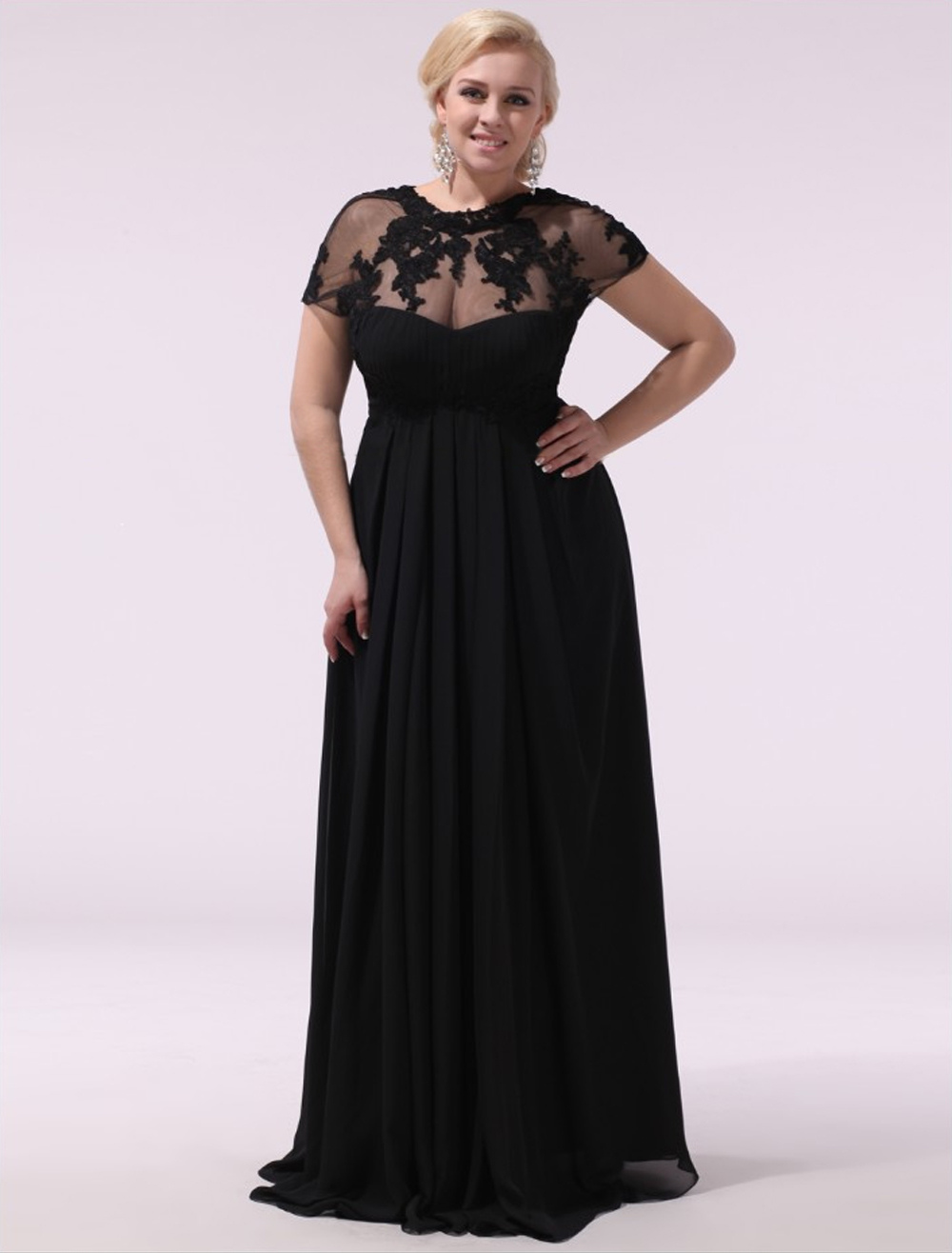 Black Prom Dresses Plus Size Evening Dress Chiffon Lace Applique Illusion Short Sleeves Floor Length Wedding Guest Dress Milanoo