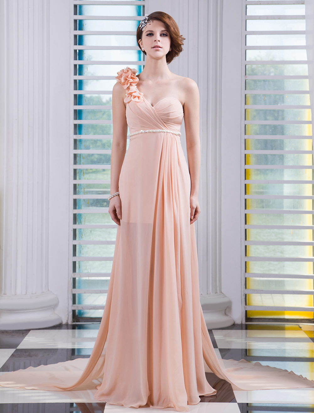 f28ff514d7 ... Shoulder Prom Dress Sweetheart Sleeveless Flower Beaded Pleated Party  Dress With. 123. 45%OFF. Color Nude