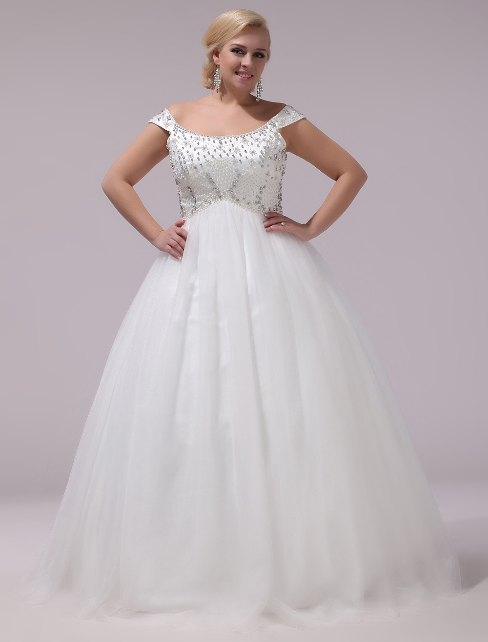Buy Plus Size Wedding Dresses Tulle Rhinestones Beading Bridal Gown Off The Shoulder Sleeveless A Line Floor Length Bridal Dress Milanoo for $201.59 in Milanoo store