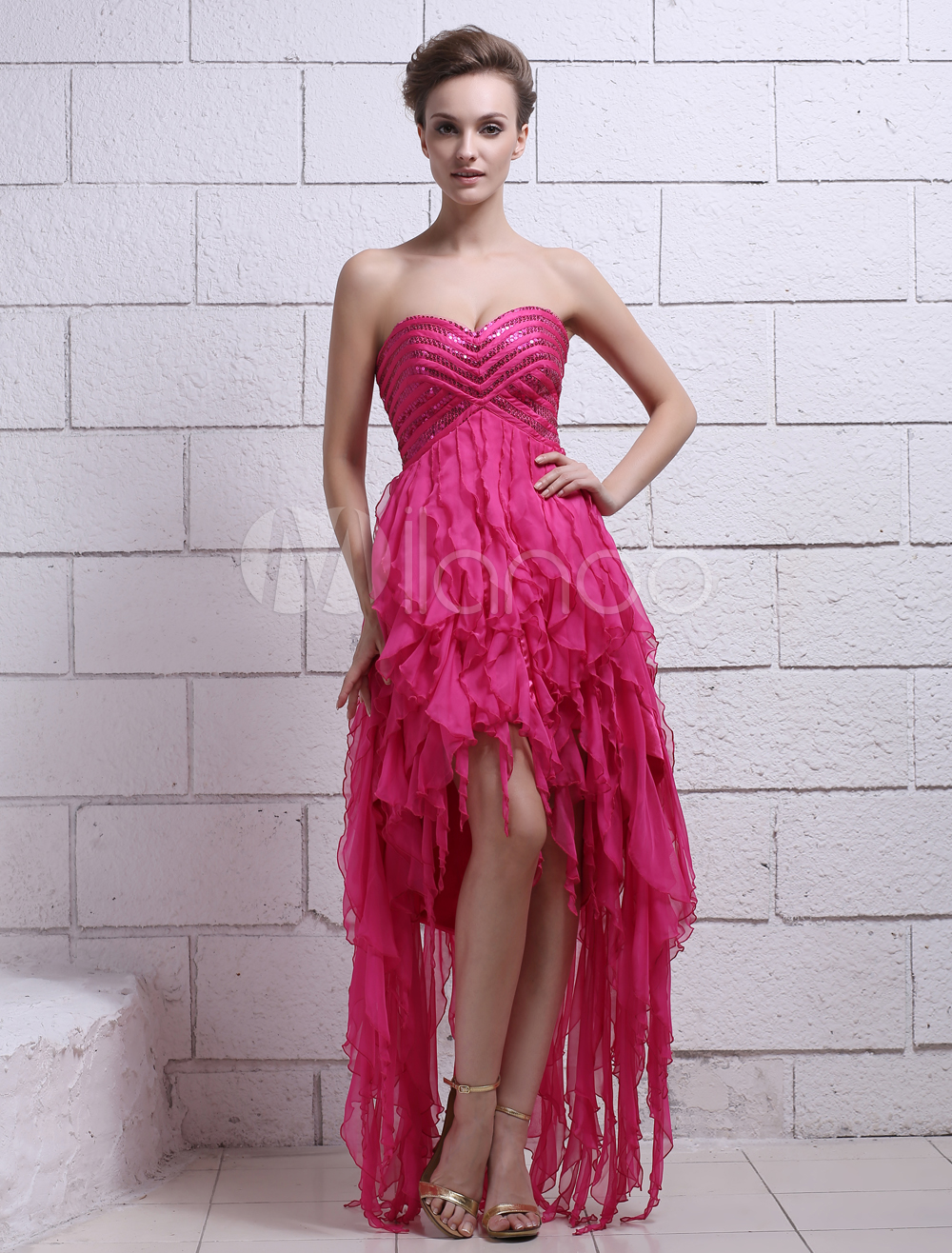 Buy Chiffon Prom Dress Sequin A-line Cocktail Dress Hot Pink Strapless Sweetheart Asymmetrical Party Dress Milanoo for $152.99 in Milanoo store