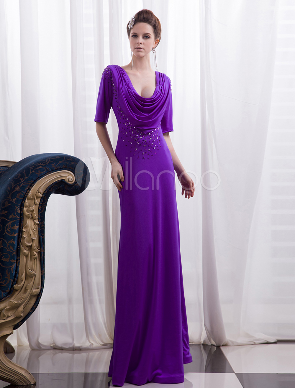 Lavender Evening Dress Beaded Cowl Neck Mother Of The Bride Dress Half Sleeves Sheath Party Dress Milanoo