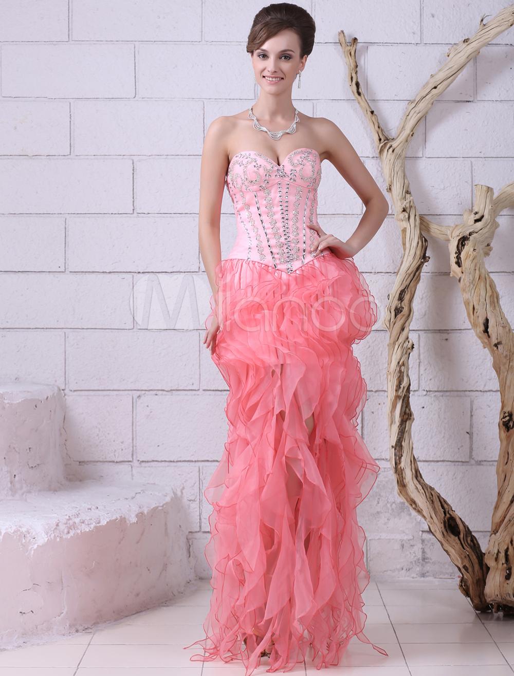 Vestido de fiesta de color melocotón con escote de corazón Milanoo ...