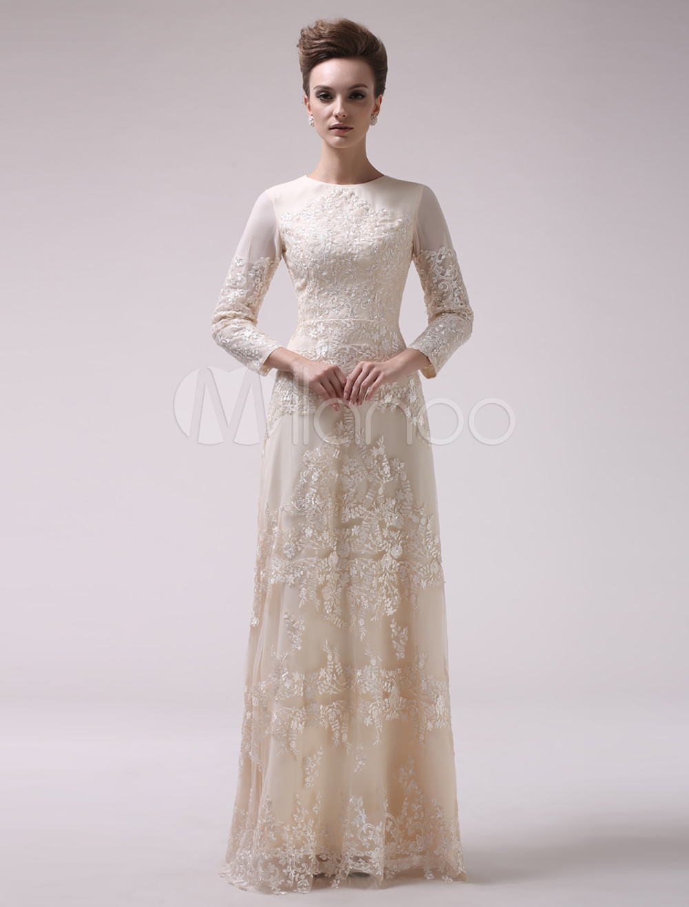 Champagne Beaded A-line Lace Evening Dress  Milanoo