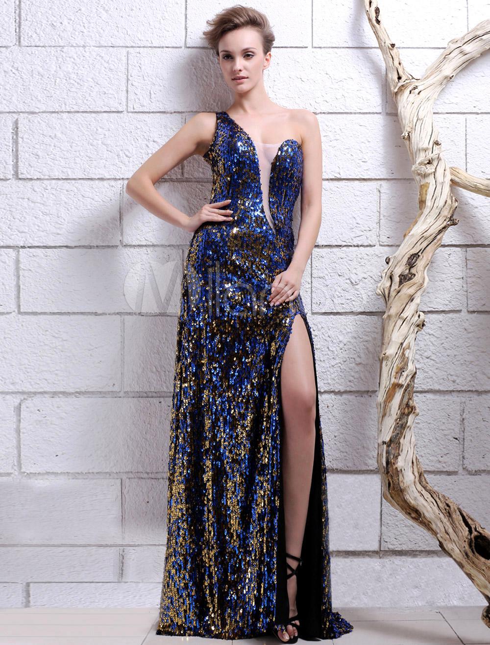 Royal Blue One-Shoulder Sequin Sheath Sequined Evening Dress  Milanoo