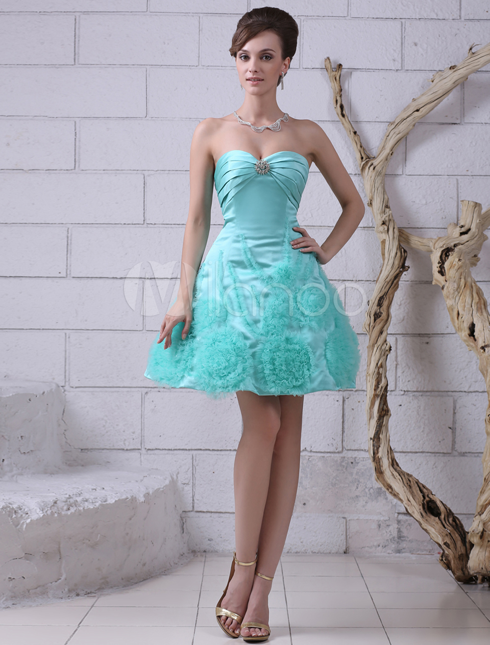 Buy Satin Prom Dress Turquoise Flowers Beaded Cocktail Dress Strapless Sweetheart Sleeveless Ruched A Line Short Party Dress Milanoo for $139.99 in Milanoo store