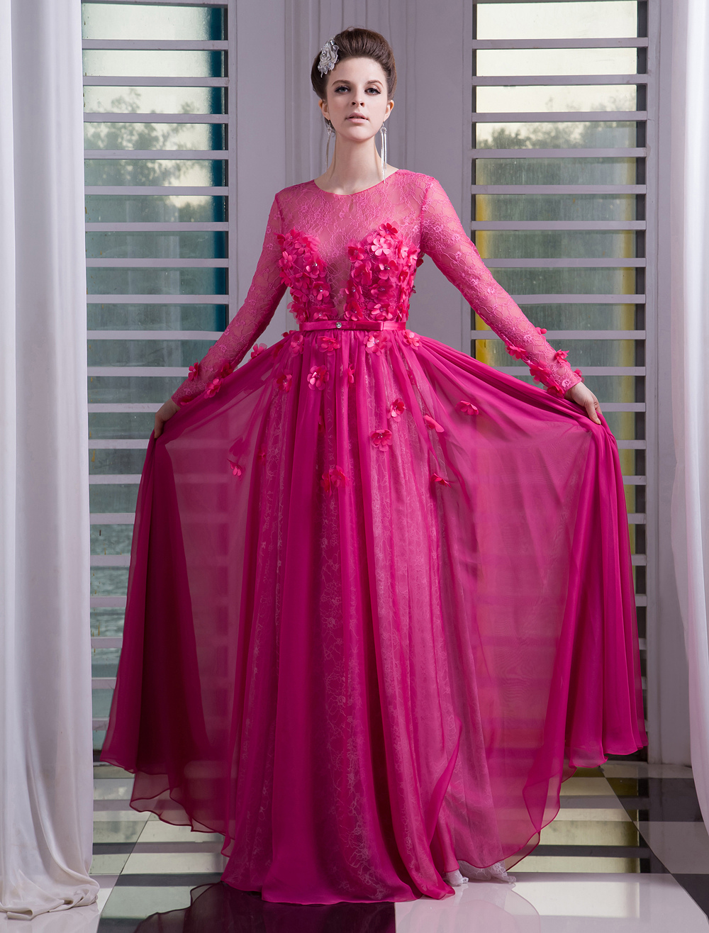 Chiffon Evening Dress Illusion 3D Flower Beaded Prom Dress Hot Pink Jewel Neck Long Sleeves A Line Floor Length Party Dress Milanoo