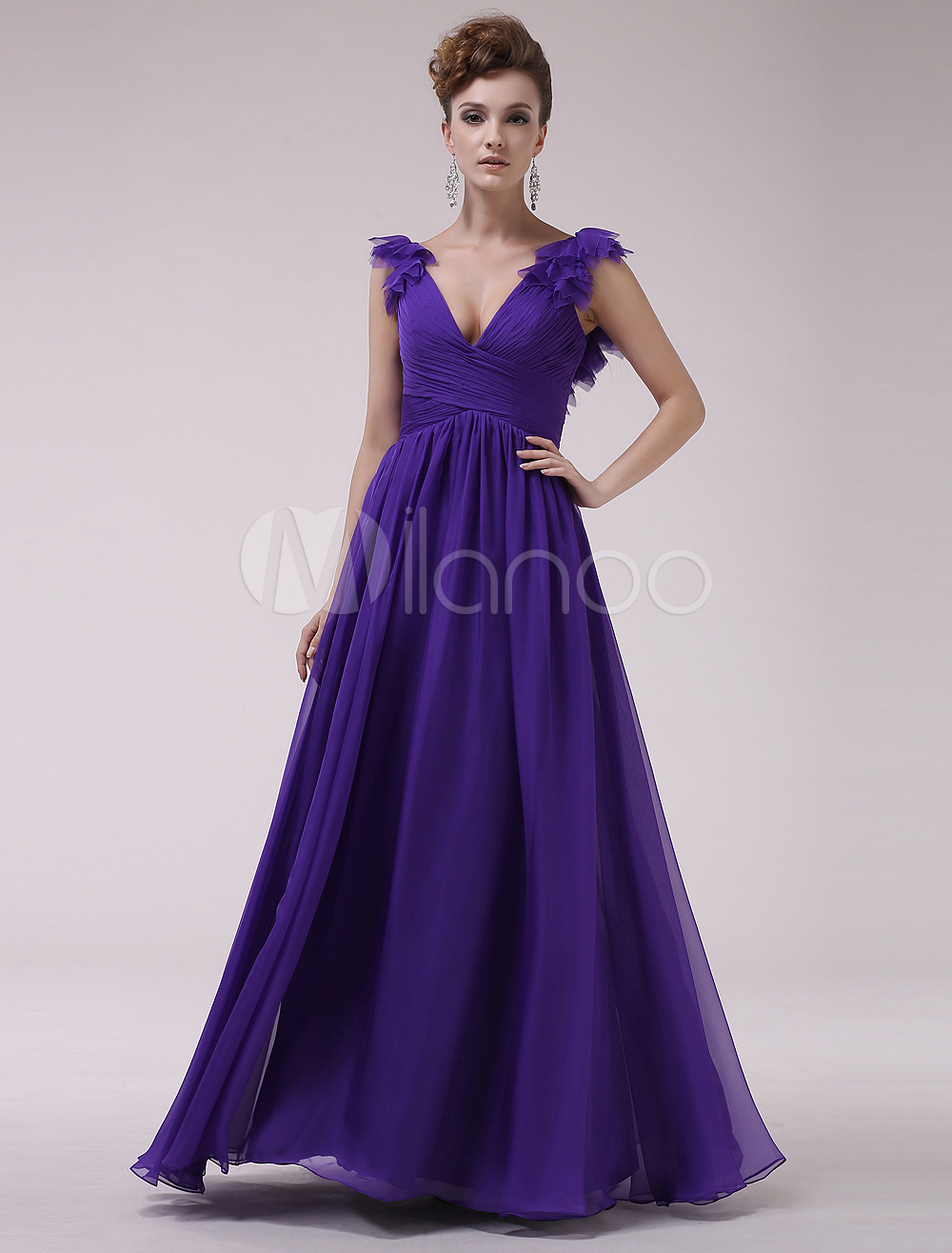 Royal Purple Pleated V-Neck A-line Chiffon Grace Evening Dress  Milanoo