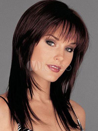 Natural Brownish Black Straight Chic Heat-resistant Fiber Woman's Medium Wig