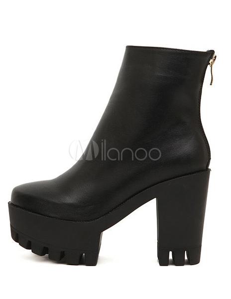 721d5d579c4 Bottines à talons épais en PU noir avec semelle crantée - Milanoo.com