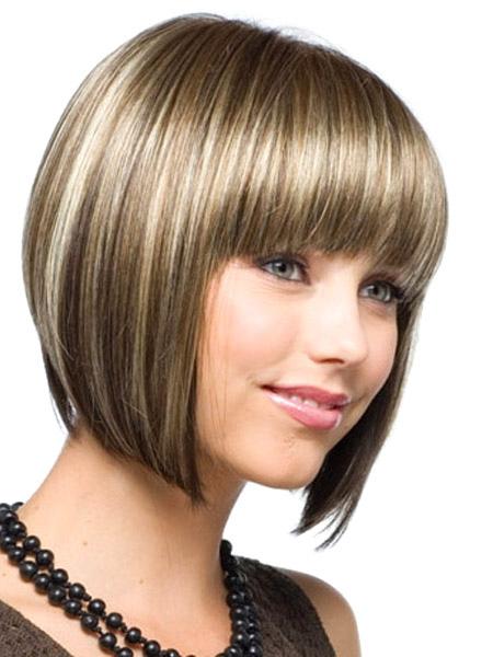 Natural Flaxen Heat Resistant Fiber Wigs 2018 Women Short Wig With Bangs